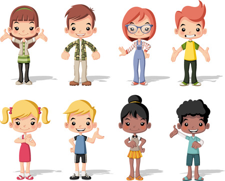 Groep gelukkige cartoon kinderen. Schattige kinderen.