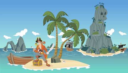 pirate skull: Cartoon pirates on a beautiful tropical beach with gold chest