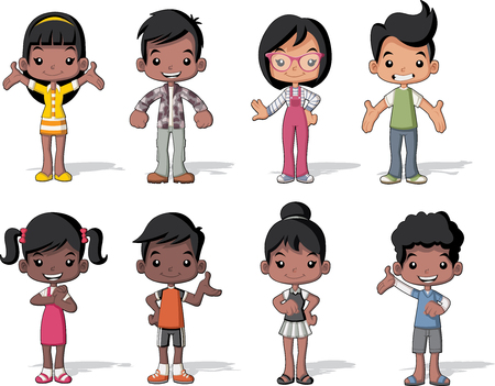 Group of happy cartoon black children. Cute kids.