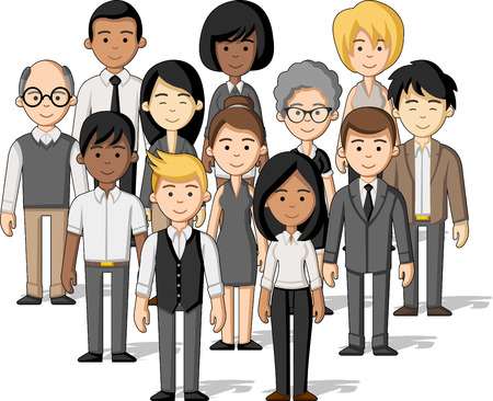 Group of cartoon business people Illustration