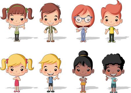 niños rubios: Grupo de niños felices de dibujos animados. Niños lindos. Vectores
