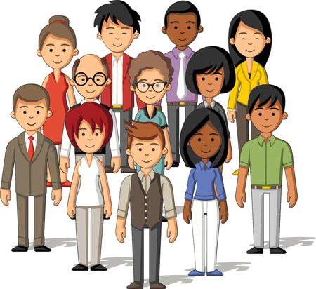 nene y nena: Grupo de personas de negocios de dibujos animados