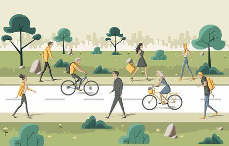 green park: Group of cartoon people walking on the street