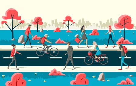 Blauwe en rode groep cartoon mensen lopen op straat