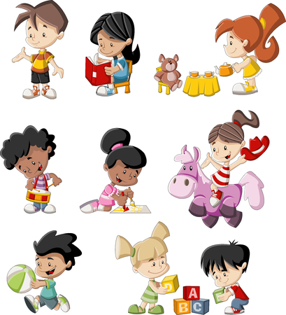 Group of happy children playing cartoon