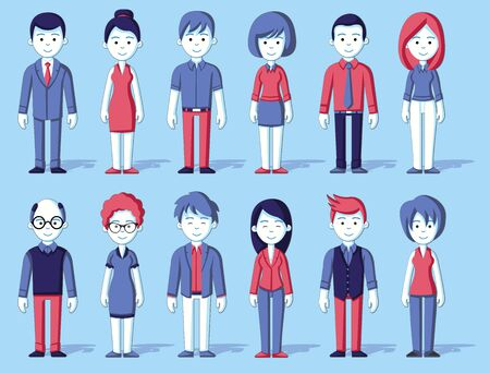 Blue and red group of cartoon business people