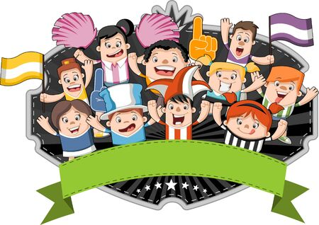 Groep van cartoon sport fans en supporters juichen