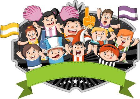 Gruppo di appassionati di sport dei cartoni animati e sostenitori tifo