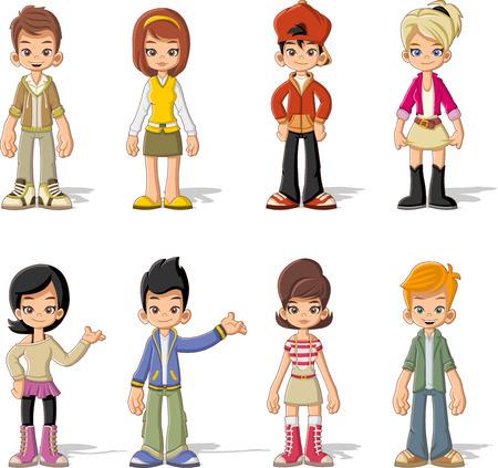 Grupo de jóvenes de dibujos animados. Adolescentes.