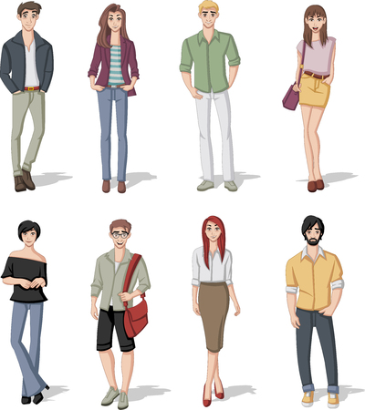 lass: Group of cartoon fashion young people. Teenagers.