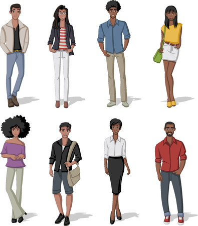 Group of fashion cartoon black people. African teenagers.