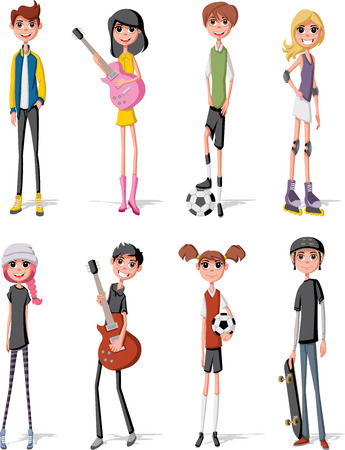 lass: Group of cartoon young people. Teenagers. Illustration