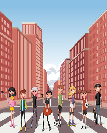 downtown: Group of cartoon young people. Teenagers in the street of downtown city with buildings