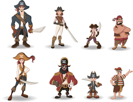 maniac: Group of cartoon pirates with swords.