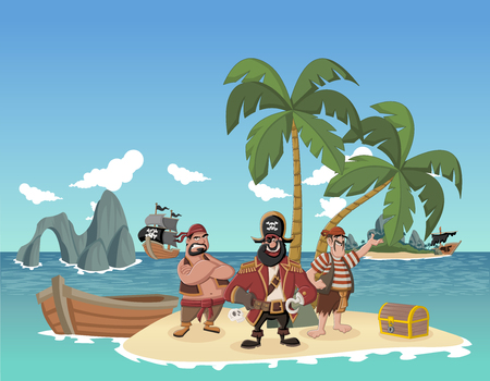 gold coast: Cartoon pirates on a beautiful tropical beach with gold chest