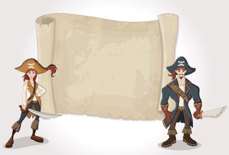 Big pirate map and cartoon pirates