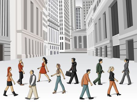 Group of cartoon people walking on the street