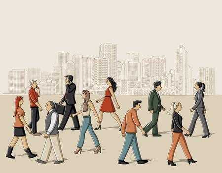 residential neighborhood: Group of cartoon people walking on the street