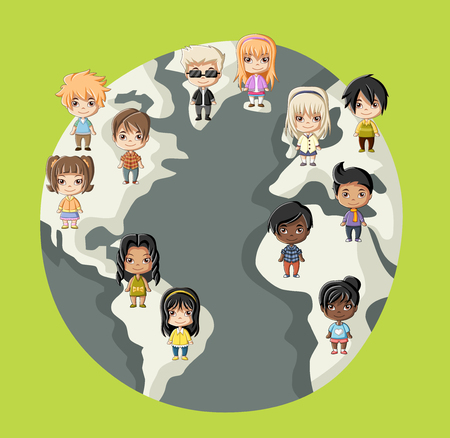 planet earth: Group of happy cartoon children over planet earth
