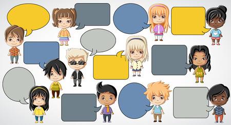話している漫画子供のグループ。