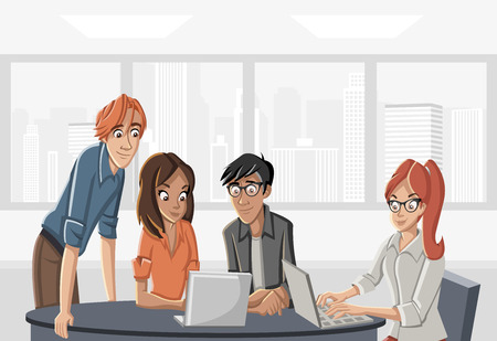 Cartoon business people working on office