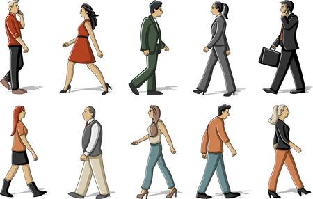 Grupo de personas de dibujos animados caminando