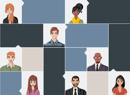 juvenile: Template for advertising brochure with large group of people faces Illustration