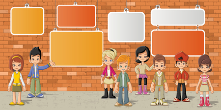 cartoon teenager: Group of cartoon children in front of orange brick wall background Illustration