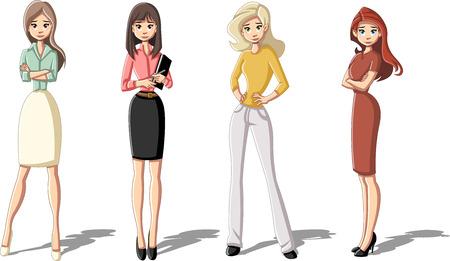 Group of business cartoon woman