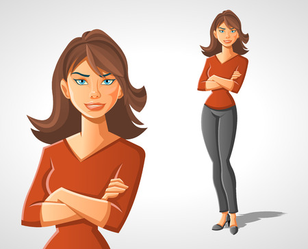 brunets: Beautiful cartoon woman. Happy businesswoman. Illustration
