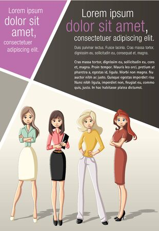 Template for advertising brochure with business cartoon beautiful woman