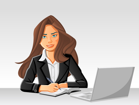 Belle femme d'affaires sur une table avec un ordinateur Vecteurs
