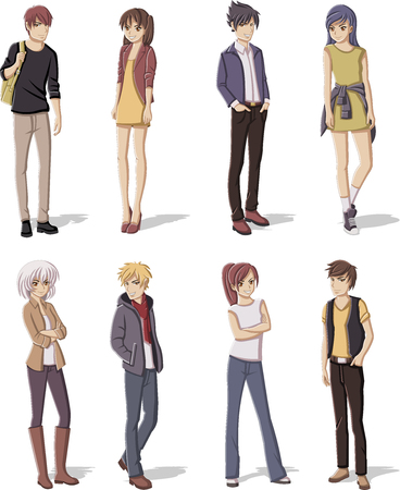 juvenile: Group of cartoon young people. Manga anime teenagers.
