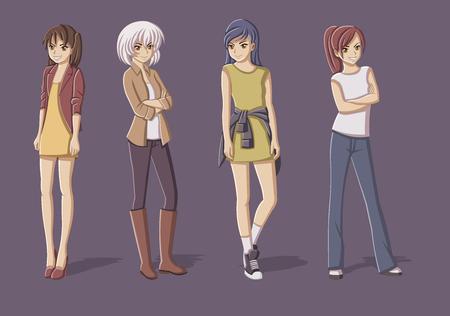 pandilleros: Grupo de chicas jóvenes de dibujos animados. adolescentes manga anime. Vectores