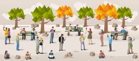 Business people in a park with smart phones and computers