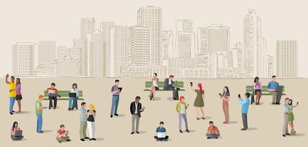 スマート フォンとコンピューターが付いている都市のビジネス人々