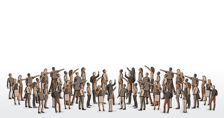 Big group of people looking and pointing Stock Illustratie