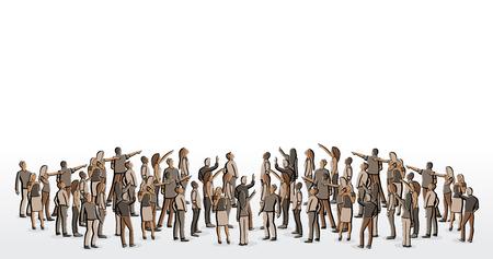 sociedade: O grupo grande de pessoas olhando e apontando