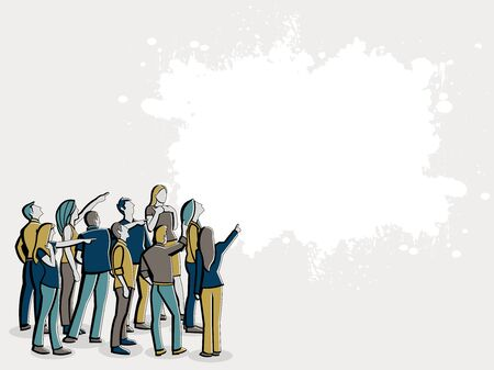 casual business team: Big group of people looking and pointing Illustration