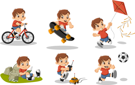 Cute happy cartoon boy playing. Sports and toys.