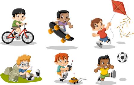 かわいい幸せ漫画男の子が遊んでいます。スポーツやおもちゃ。