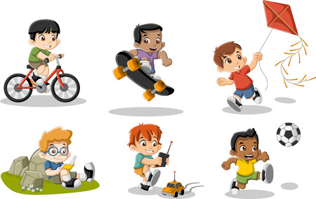 cartoon ball: Cute happy cartoon boys playing. Sports and toys.