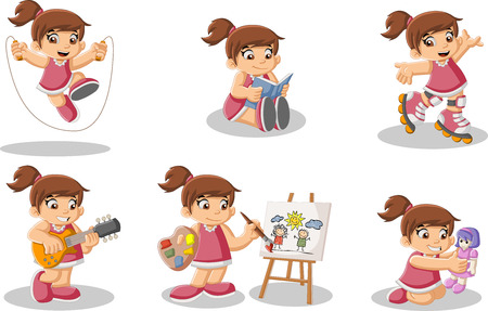 Vector children: Cute happy cartoon girl playing. Sports and toys.
