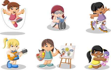 Cute happy cartoon girls playing. Sports and toys. Illustration