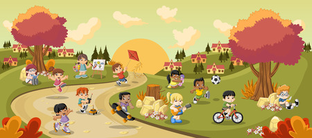futbol soccer dibujos: Parque colorido en la ciudad con los niños de dibujos animados jugando. Deportes y juguetes. Vectores