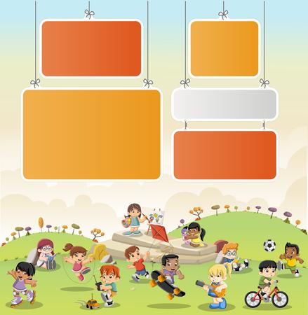 parque de dibujos animados colorido con los niños jugando. Deportes y juguetes. Ilustración de vector