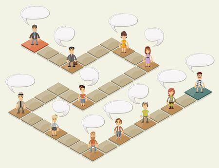 tablero: Juego de mesa con gente de dibujos animados más bloques