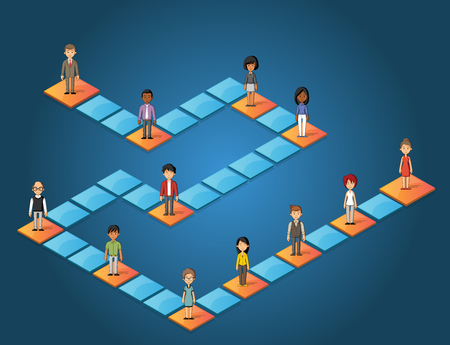 Board game with cartoon people over blocks