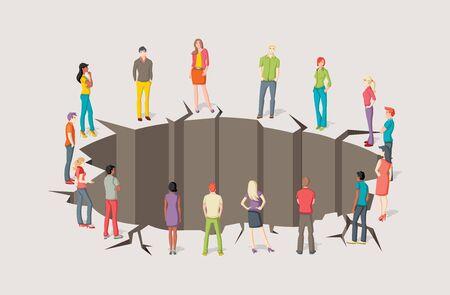 conflicto: Grupo de personas alrededor del agujero. agrietado suelo.