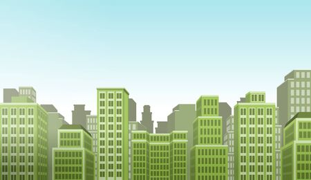 construction projects: Green big colorful city landscape with buildings Illustration